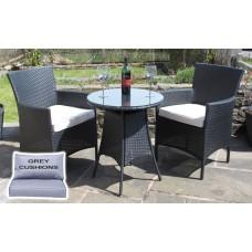 All Weather Rattan 3 Piece Bistro Set Garden Furniture in Black