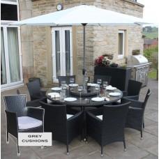 Rattan Outdoor 8 Seat Round Garden Rattan Dining Set in Black