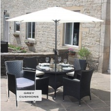 Rattan Outdoor 4 Seat Round Garden Dining Set in Black