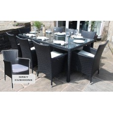 Rattan Outdoor 8 Seater Garden Furniture Dining Set in Black