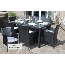 Rattan Outdoor 6 Seater Garden Furniture Dining Set in Black