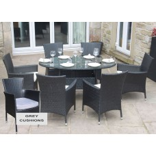 Rattan Outdoor 6 Seat Oval Dining Set Garden Furniture Black