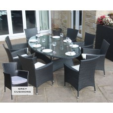 Rattan Outdoor 8 Seat Oval Dining Set Garden Furniture Black