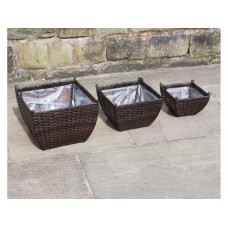 SET OF 3 HAND WOVEN RATTAN HANGING BASKETS FLOWER POTS PLANTERS GARDEN FURNITURE (BLACK ONLY)