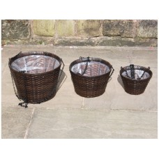 SET OF 3 HAND WOVEN RATTAN ROUND HANGING BASKET FLOWER PLANTERS GARDEN FURNITURE - BLACK ONLY