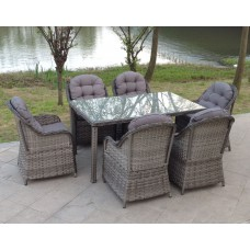 Luxury Grey Rattan 6 Seat Oblong Dining Set
