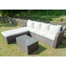 Rattan Sofa Lounger Set in Brown