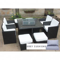 All Weather Rattan Garden Furniture Deluxe 9 Cube Set in Black
