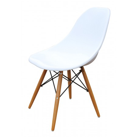 Set of 2 Charles Eames Inspired DSW Dining Chairs in Black, Red or White with Wooden Eiffel Legs
