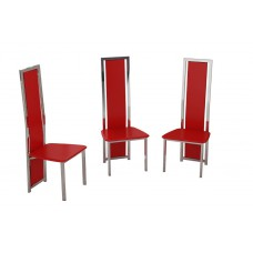 Set of 4 Black, Red or White Faux Leather and Chrome Finish Dining Chairs