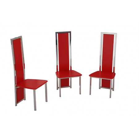 Set of 6 Black, Red or White Faux Leather and Chrome Finish Dining Chairs