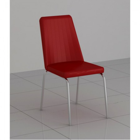 Black, Red, White or Cream Faux Leather and Chrome Finish Dining Chairs Set of 4