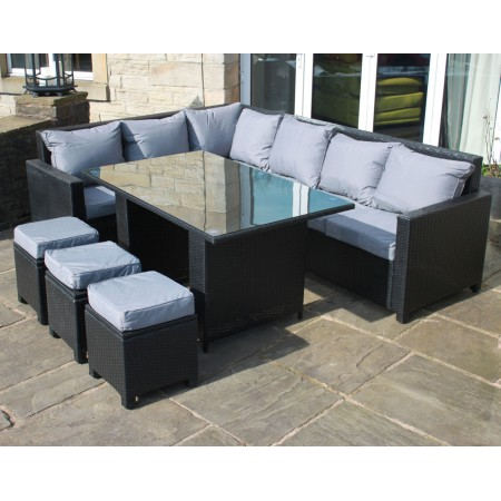 Rattan Corner Sofa Casual Dining Set in Black