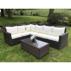 Rattan Outdoor Corner Sofa Set Garden Furniture in Brown