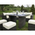 Rattan Corner Sofa Casual Dining Set in Brown