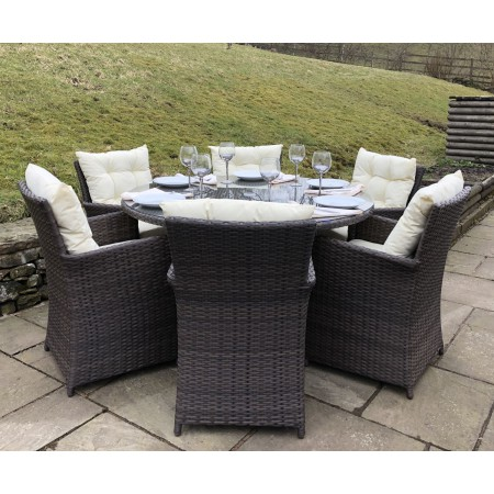 Rattan Outdoor 6 Seat Round Garden Dining Set in Brown