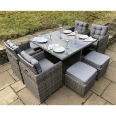 Luxury Grey Rattan 8 Seat Garden Dining Cube Set