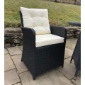 Rattan Outdoor 2 Seat Round Garden Bistro Set in Black