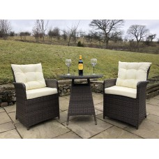 Rattan Outdoor 2 Seat Round Garden Bistro Set in Brown