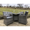 Rattan Outdoor 4 Seat Round Garden Dining Set in Grey