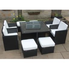 All Weather Rattan Garden Furniture Deluxe 9 Cube Set in Black