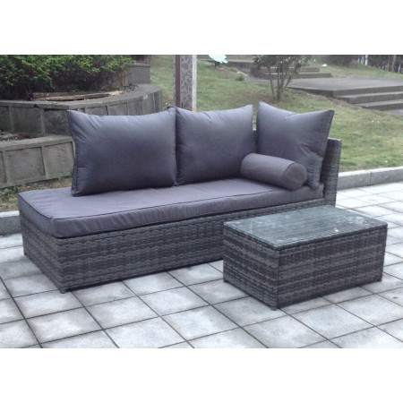 Rattan Chaise Longue / Lounge Sofa with Coffee Table - 3 colours