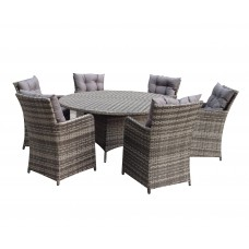 Rattan Outdoor 6 Seat Round Garden Dining Set in Grey