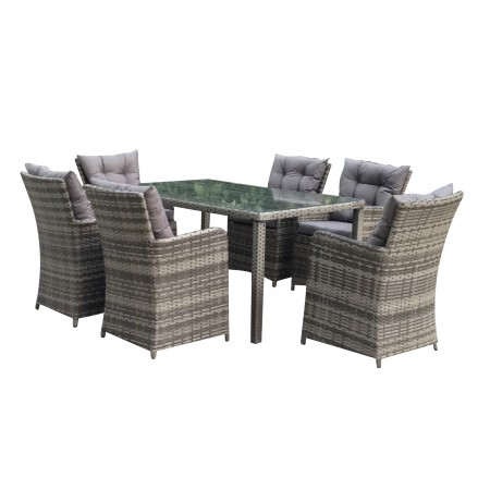 Rattan Outdoor 6 Seat Oblong Garden Dining Set in Grey