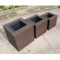 Set of 3 Rattan Garden Furniture Square Flower Pot Planters in Black or Brown