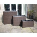 Set of 3 Rattan 3 Box Planters / Flower Pots Garden Furniture in Black or Brown