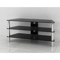 Universal Black Glass and Stainless Steel TV Stand 32 to 60 inches