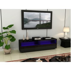 Large Black High Gloss LED Light TV unit with drawers