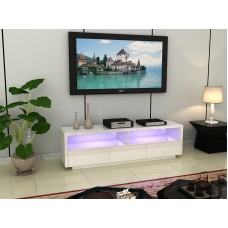 Large White High Gloss LED Light TV unit with drawers