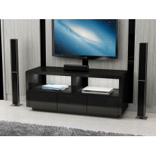 Black High Gloss LED Light TV unit with drawers