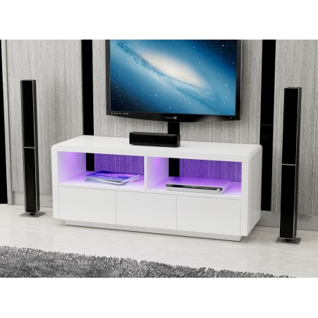 White High Gloss LED Light TV unit with drawers