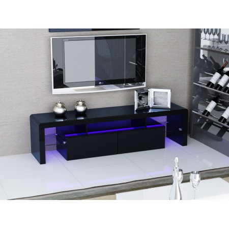 Black Glossy MDF TV Stand With Colour Change LED Lights