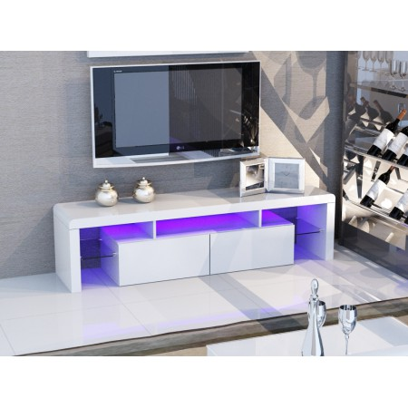 White Glossy MDF TV Stand With Colour Change LED Lights
