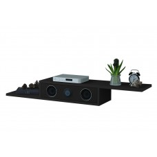 Black Painted MDF Floating TV Wall Unit / DVD Shelf