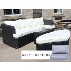 Rattan Daybed / Sofa Set with Ottomans in Black