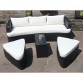 Rattan Lounge Set Sofa with Table and Ottomans Outdoor Garden Furniture in Black
