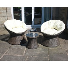 Rattan Aluminium 2 Seat Swivel Bistro Set in Brown
