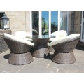 Rattan Aluminium 4 Seat Swivel Bistro Set in Brown
