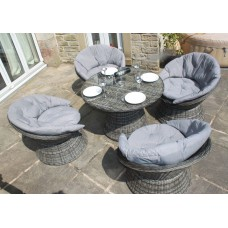 Rattan Aluminium 4 Seat Swivel Bistro Set in Grey