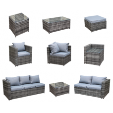 Rattan Outdoor All Weather Custom Modular Sofa Set in Grey