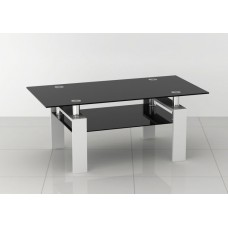 Rectangular Black Glass Coffee Table with White Legs