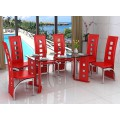 6 Seat Black, Red, Cream or White Dining Set with Faux Leather Chairs