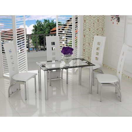 4 Seat Black, Red, White or Cream Contemporary Dining Set