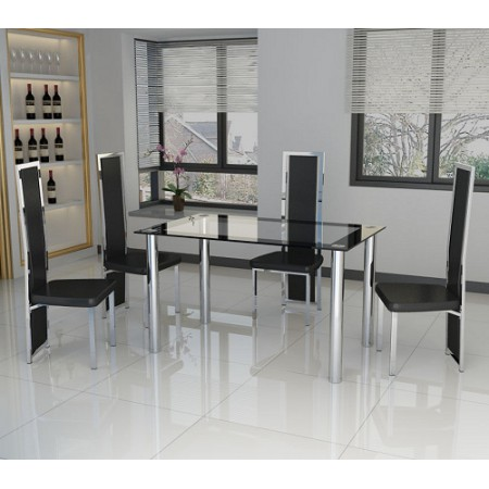 4 Seat Glass and Chrome Dining Set with Black, Red or White Chairs