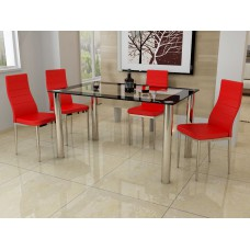 Modern and Stylish 4 Seat Dining Set With Black, Red or White Faux Leather Chairs