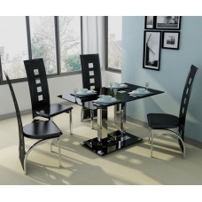 Modern 4 Seat Black Glass Dining Set with Black, Red, White or Cream Faux Leather Chairs